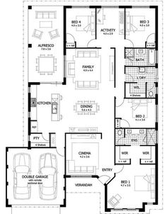 Over 35 large, premium house designs, and house Family House Plans, Best House Plans, Dream House Plans, House Floor Plans, Minecraft Houses Blueprints, House Blueprints, South Facing House, House Plans Australia, Living Room Floor Plans