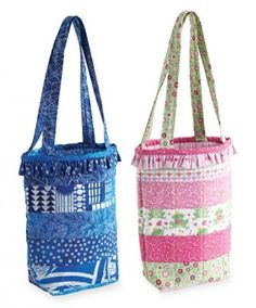 These strippy totes are simple enough to make in one afternoon with precut strips.