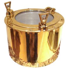 Brass nautical porthole ice bucket