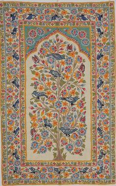 Ivoor wol geborduurd tapijt Rug  levensboom Suzani Crewel