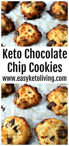 Easy Low Carb Keto Chocolate Chip Cookies Recipe - Ketogenic Diet friendly flourless cookie recipes with coconut flour and chocolate. An easy keto chocolate dessert!