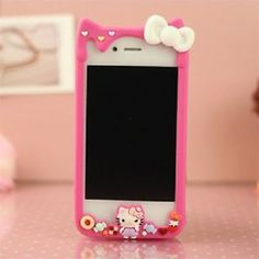 hello kitty i phone 5g | ... Hot-Pink-Hello-Kitty-Silicone-Frame-Bumper-Case-Cover-For-IPhone-5-5G
