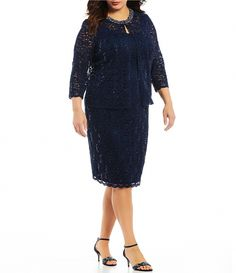 98fae647dc83e Alex Evenings Plus Size Lace Shift Jacket Dress