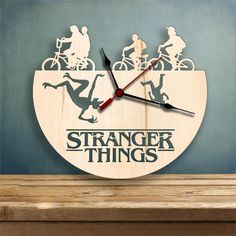 Laser cut wall clock - Birch wood veneer finish - Stranger Things TV Show theme Laser Cutter Projects, Unique Clocks, Wood Clocks, Kind Words, Wood Veneer, Laser Engraving, Stranger Things, Gifts For Him, Best Gifts