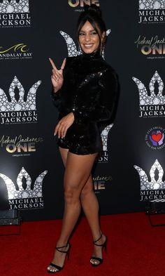 Vanessa Hudgens Flaunts Legs at Giuseppe Tribute to Michael Jackson Launch Vanessa Hudgens shows off her toned legs in a sparkly black romper from Galia Lahav Vanessa Hudgens Body, Estilo Vanessa Hudgens, Sexy Legs And Heels, Black Romper, Beautiful Celebrities, Celebrities Fashion, Beautiful Legs, Great Legs, Nice Legs