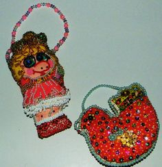 Blinged Out Vintage Baby Miss Piggy Plush Doll 1985 and Dove Ornament OOAK | eBay