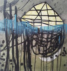 Katherine Jones - Buried Haven - 2010 -Collagraph and block-print on paper - 37 x Colorful Paintings, Contemporary Paintings, Collagraph, Intaglio Printmaking, Painting Prints, Art Prints, Collages, Great Works Of Art, High Art