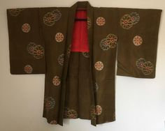 Vintage Japanese Kimono Haori Jacket Meisen Silk dark olive