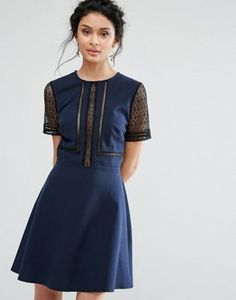 Elise Ryan Skater Dress With Lace Inserts