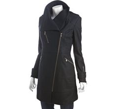 Marc New York - black wool blend asymmetrical zip front jacket - $198