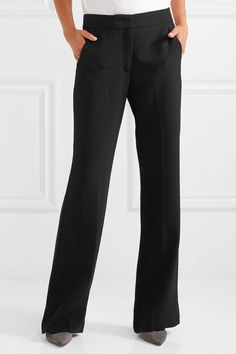 Black cady Hook, button and zip fastening at front 64% viscose, 33%. Wide  Leg PantsWide ...
