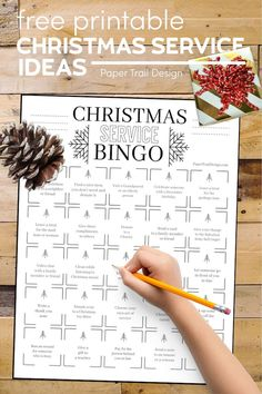 Use this service bingo chart to help think of ideas for acts of kindness to do during the Christmas holiday season. #papertraildesign #Christmasgiving #Christmasgivingideas #randomactsofkindness