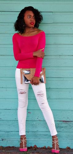 Street style of the week wearing a pink long sleeve crop top, white distressed denim, a biege clear studded envelop clutch, and pink ankle strap pointed toe sandals. Fashion blogger | distressed jeans | Off shoulder crop top | Studded heels | Alaska fashion | Spring fashion