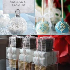 Baby Its Cold Outside: Winter Wedding Favors ornament cake pops or s'm Outside Winter Wedding, Winter Wedding Favors, Wedding Shower Favors, Personalized Wedding Favors, Unique Wedding Favors, Wedding Gifts, Wedding Decorations, Wedding Ideas, Party Favours