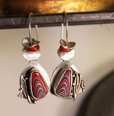 Asymmetrical Silver Fordite Earrings by madstarsilver on Etsy, $69.06