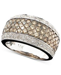 Le Vian 14k White Gold Ring, Chocolate and White Diamond Band (1-5/8 ct. t.w.) - Rings - Jewelry & Watches - Macy's