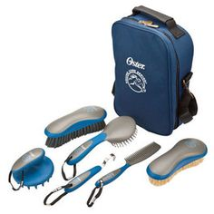 Kit contains all the tools needed for fast and easy grooming Convenient and durable storage case Contains stiff grooming brush soft finishing brush coarse curry comb mane and tail brush mane and tail comb and hoof pic Made in the usa Size: Piece] Equestrian Supplies, Horse Supplies, Horse Grooming Supplies, Horse Gear, Horse Tack, Mane N Tail, Grooming Kit, Bag Storage, Horses
