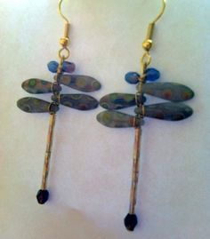 Dragonfly Earrings Purple Peacock by Originalsbydenise on Etsy, $15.00