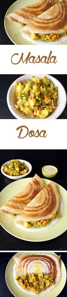 Masala Dosa - King of all dosas. A crispy dosa filled with a delicious potato masala. Dosa is a South Indian savory crepe prepared using a fermented rice and dal batter. Read Recipe by revisfood Curry Recipes, Vegetarian Recipes, Cooking Recipes, Indian Food Recipes, Asian Recipes, Indian Snacks, Indian Breakfast, Desi Food, South Indian Food