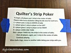 Sylvia's Stitches: Quilter's Strip Poker!