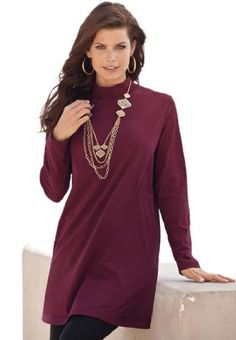 Save $22.00 on Roamans Women's Plus Size Mock Neck Trapeze Max Tunic; only $13.93