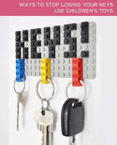 For the kid at heart: make a Lego key holder and never lose your keys again! Re-paint to go with room colors and include our initials. But how does it stay on wall..?