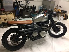 Simon's Triumph Scrambler with an LSL Bar End Mirror fitted, more to come