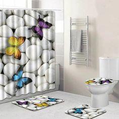 Ocean Wind Butterfly Starfish Digital Printing Creative Shower Curtain Mats Four-Piece Carpets Mat Combination Shower Room Mat U-Shaped Toilet Mat Ocean Bathroom, Bathroom Sets, Bathroom Wall, Bathroom Carpet, Bathroom Shower Curtains, Toilet Mat, Toilet Brush, Carpet Mat, Shower Liner