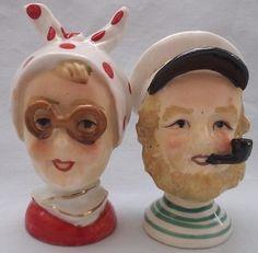 Vintage Ceramic Head Captain Lady Salt Pepper Shakers Japan   eBay
