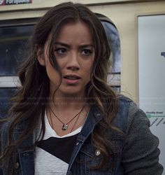Chloe Bennet as Skye on Agents of SHIELD. Skye is a hacker and was part of the Rising Tide social activist organization before becoming a valued member of SHIELD.