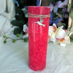 Chuparosa Pillar Candle - Love Candle, Spell Candle, Herbal Candle, Pink Candle - Witchcraft, Hoodoo, Occult