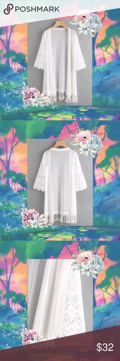 🧚🏼‍♀️✨Elegant White Embroidered Kimono✨🧚🏻‍♂️ 🌸✨🌥This is a beautifully embroidered mesh panel kimono with a fringe hem🌥✨🌸  ⭐️Brand new/never worn⭐️  🌈Kimono white elegant gorgeous spring summer beach blouse shawl tropical coastal pretty cute happy party vacay vacation flirty fun garden fairytale whimsical flowey flowers floral🌈  🧚🏽‍♀️Like, Share, and Follow my closet for new arrivals🧚🏻‍♂️ 🌸Happy Poshing🌸 Tops