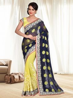 Blue & Yellow Colour Georgette Embroidery Saree With Unstitched Blouse Piece