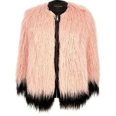 River Island Light pink premium faux-fur coat ($180) ❤ liked on Polyvore featuring outerwear, coats, coats / jackets, faux fur coats, pink, women, imitation fur coats, pink coat, red coat and pink faux fur coat