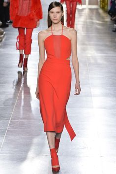 Osman | Fall 2015 Ready-to-Wear | 13 Orange halter midi dress with sheer panel