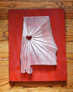State String Art - Alabama String Art - Tuscaloosa - University of Alabama by herringdesignco on Etsy https://www.etsy.com/listing/102204129/state-string-art-alabama-string-art