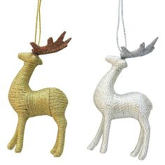 Deer Ornament Wrapped Silver/Gold Assorted