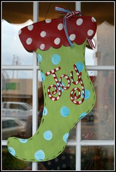 Christmas Door Decor Hand Painted Whimsical Stocking Wooden