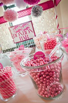 Pink candy stations are great for a girl's birthday party, bridal or baby shower love the decorations!