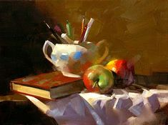 """Daily Paintworks - """"Apples in Study"""" - Original Fine Art for Sale - © Qiang Huang"""