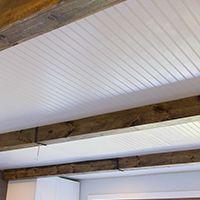 Shiplap Video Tutorial Plain to paneled door $10 Closet Doors Paneled wall DIY Wood ceiling beams Tongue & groove ceiling planks Beadboard ceiling Foyer Board & Batten Dining room wainscoti…