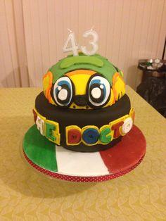 Valentino Rossi Cake Buttercream Filling, Chocolate Buttercream, Edible Printing, Valentino Rossi 46, Vanilla Sponge, Chocolate Sponge, Themed Birthday Cakes, Fondant, Vr46