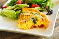 Crustless Quiche with Sundried Tomatoes and Spinach - Such a simple, yet deliciously satisfying meal whether its for brunch or for supper! from addapinch.com