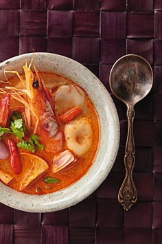 Tom Yum Goong or spicy tom yum soup with shrimp. #travel #cruise #food