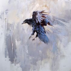 "VOLITATE [verb] to flutter or fly hither and thither; Etymology: ultimately from Latin volare, ""to fly"". [Lindsey Kustusch - What Is Moving Will Be Still] Crow Art, Raven Art, Bird Art, Crow Painting, Sketch Painting, Watercolor Animals, Watercolor Paintings, Corvo Tattoo, Aquarell Tattoo"