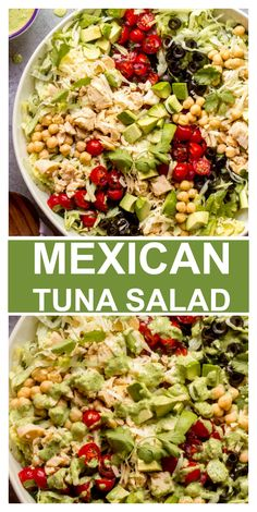 Give your tuna salad a makeover with this chopped Mexican tuna salad. It's made with iceberg lettuce, pico de gallo, avocado, and creamy cilantro dressing. Easy Holiday Recipes, Healthy Recipes On A Budget, Cucumber Recipes, Tuna Recipes, Drink Recipes, Recipies, Chickpea Recipes, Vegetarian Recipes, Seafood Recipes