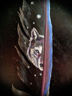 painted feather Star Wolf by Shtarka on DeviantArt Feather Painting, Feather Art, Painted Feathers, Bird Feathers, Paons, Native Art, Wildlife Art, Spirit Animal, Tack