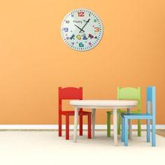Nástenné hodiny pre deti v bielej farbe a farebným ciferníkom Clock, Wall, Home Decor, Watch, Decoration Home, Room Decor, Clocks, Walls, Home Interior Design