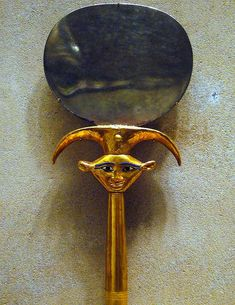 Ancient Egyptian Mirror. Gold foil, silver, glass, alabaster, obsidian, porphyritic diorite. Dynasty 18, reign of Thutmose lll - ca. 1479-1425 B.C. . From the tomb of the three minor wives of Thutmose lll in the Wady Gabbanat el-Qurud, Thebes. Metropolitan Museum of Art, NYC.      http://www.flickr.com/photos/ggnyc