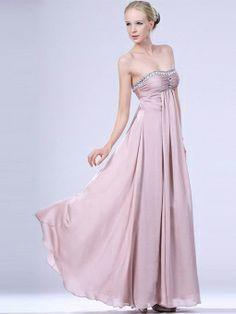 Empire Strapless Chiffon Floor-length Sleeveless Crystal Detailing Formal Dresses
